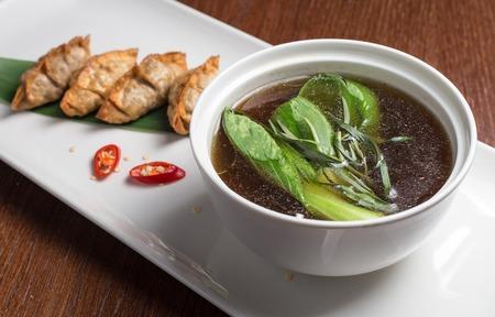 tetsubin: Traditional asian pan fried gyoza dumplings with miso soup