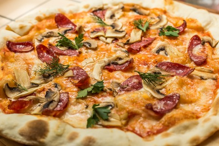 pepperoni: HomemadePizza with Pepperoni Sausage and Bacon Stock Photo