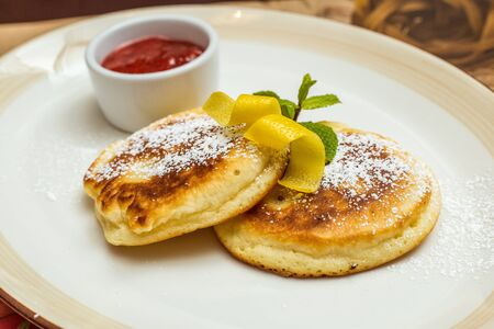 strew: Frying homemade Cottage cheese pancakes