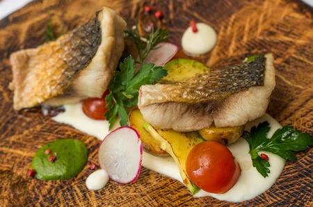 brown trout: Fine dining, Seabream fish fillet breaded in herbs