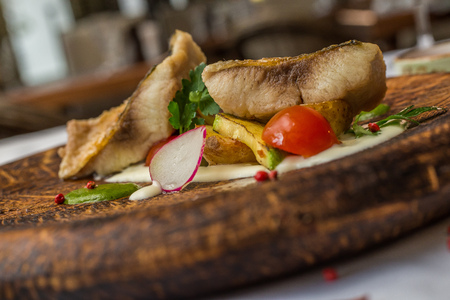 flesh eating animal: Fine dining, Seabream fish fillet breaded in herbs