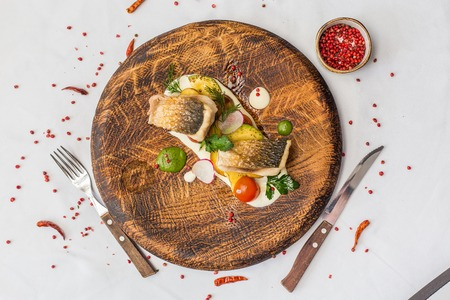 Fine dining, Seabream fish fillet breaded in herbs