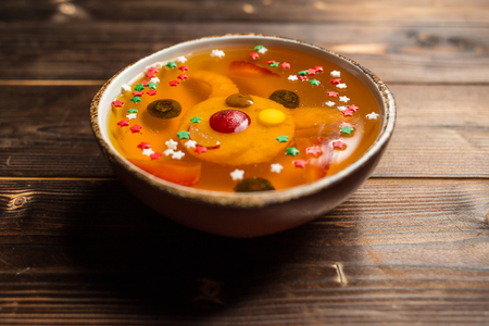 jelly with pineapple on white plate, restaurant Stock Photo