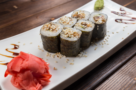 roll with avocado and sesame seeds
