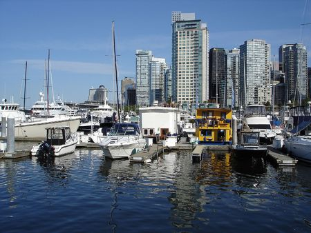 Cityscape in Downtown Vancouver. Coal Harbour Walking Tour. Stok Fotoğraf