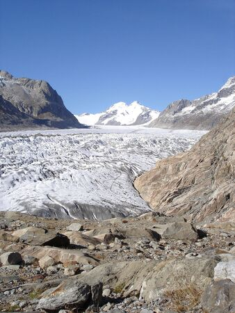 monch: View of Monch and Eiger summits and of Aletsch Glacier the longest river of ice in the European Alps, Switzerland.    Stock Photo