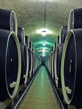 Wine Barrels Stacked In A Winerys Cellar