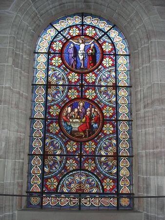 Stained Glass Window Image taken at Munster Cathedral in Basel Switzerland      photo