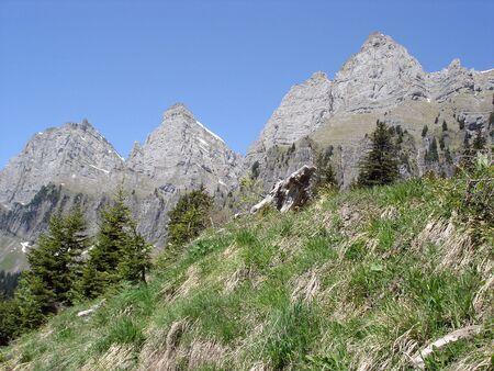 st gallen: Limestone Summits Of Churfirsten Massif Canton Of St. Gallen Switzerland. Stock Photo