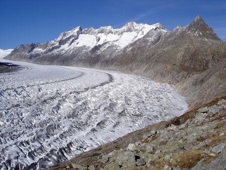 valais: Aletsch Glacier In Bernese Alps Canton Of Valais Switzerland. Stock Photo