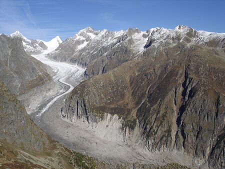valais: View Of Fiescher Glacier And Of Finsteraarhorn The Highest Peak In The Bernese Oberland Of Swiss Alps Canton Of Valais.