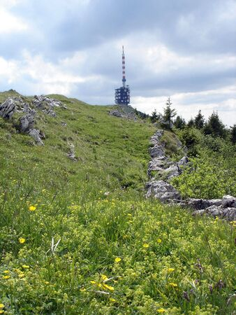 Landscape With Telecommunication Tower On Top Of Chasseral Peak In Jura Mountains Switzerland.