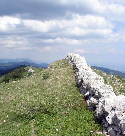 jura: Stone Fence Jura Mountains Switzerland.        Stock Photo