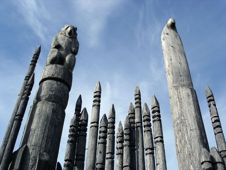 canada aboriginal: Carved Totem Poles Burnaby Mountain Park British Columbia Canada Stock Photo