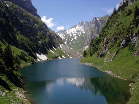 Mountain Lake In Swiss Alps photo