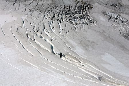 Crevasses In A Glacier Surface Stock Photo