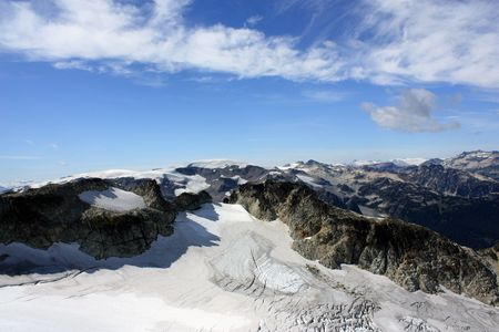 Ice Fields Viewed From The Top Of Brandywine Mountain (Coast Mountains, Canada) Stock Photo