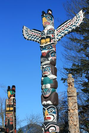 Totem Poles In Stanley Park (Vancouver, BC, Canada) Stock Photo