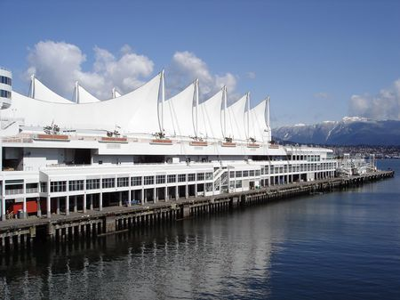 Canada Place Five Sails In Downtown Vancouver, BC, Canada
