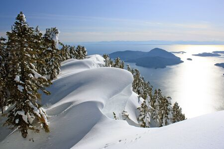 Where the Pacific Ocean meets the mountains: Winter Landscape near Vancouver, British Columbia, Canada Stock Photo
