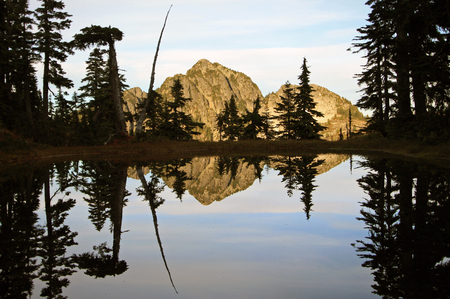 north shore: Mountain Reflection At Sunset in North Shore Mountains near Vancouver, British Columbia, Canada