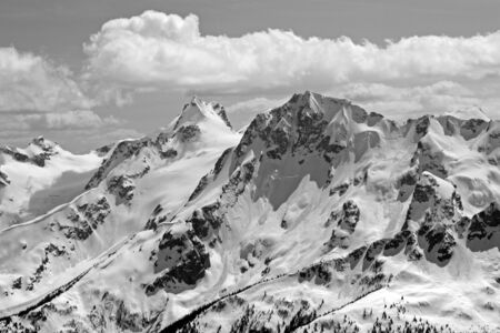 backcountry: Black and white view of Joffre Group a popular mountaineering and backcountry skiing destination North of Pemberton, Beautiful British Columbia, Canada.