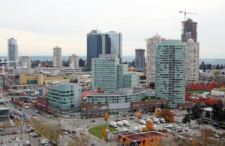 Burnaby, Canada, November 4, 2013 - View of some Burnaby highrises and of Metropolis at Metrotowm Mall, the largest mall in British Columbia and second largest in Canada.