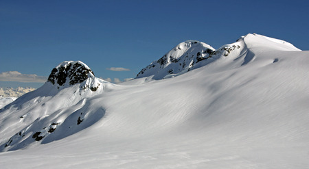 Snowcapped Peaks above Appa Glacier (Pemberton Icefield, Coast Mountains of British Columbia, Canada).
