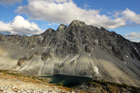 The impressive summit of Mount Nraiteskel in Downton Creek Area (Coast Mountains of British Columbia, Canada). Stock Photo