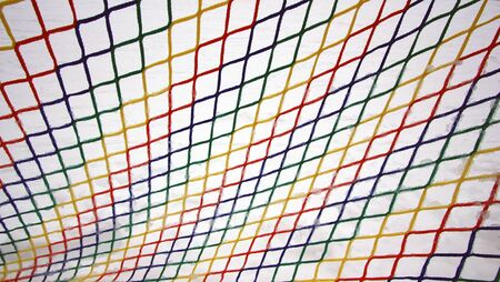 Colorful frozen mesh on white background.