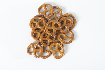 directly above: pile of pretzels shot from above on white background