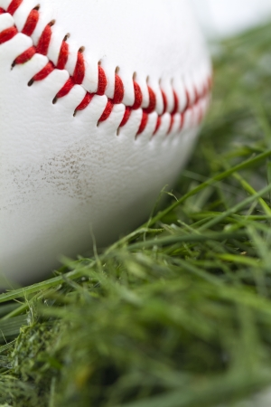 Angled macro shot of smudged baseball in grass  photo