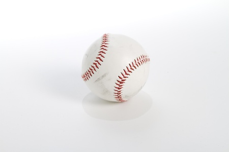 scuffed: a worn and scuffed baseball shot on white