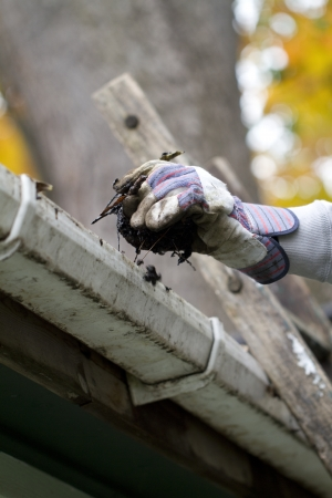 the field and in depth: a close up shot of a person cleaning the gutter shallow depth of field
