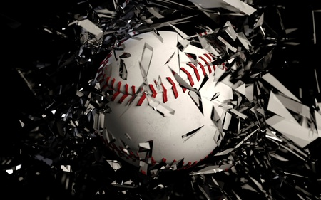 a cg render of a baseball breaking glass against a black background