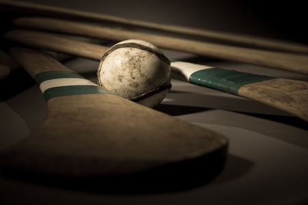 Hurling Ball Close Up  a studio shot of a hurling stick, ball close up