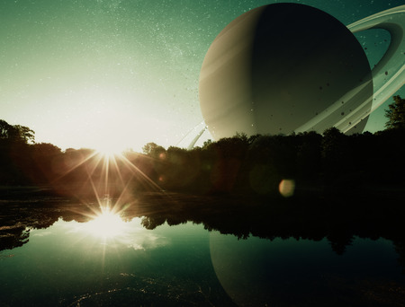 a fantasy sci-fi scene of the sun rising on a distant planet with water. photo