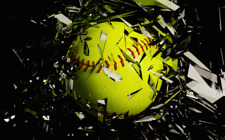 a 3d render of a softball breaking glass against a black background