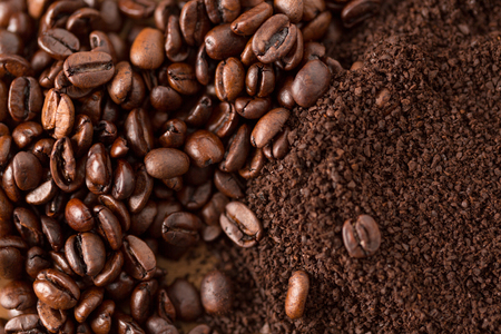 coffee beans and grounds close up from above