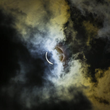 Solar Eclipse Totality with Clouds. the view of the solar eclipse from 2017 in Atlanta, GA. surrounded by clouds