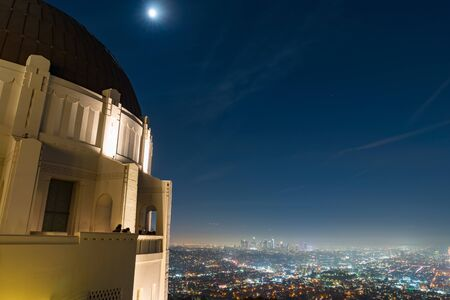 Los Angeles City from Griffith Observatory Night. a long exposure shot from the deck of the Griffith Observatory in Los Angeles, California at night