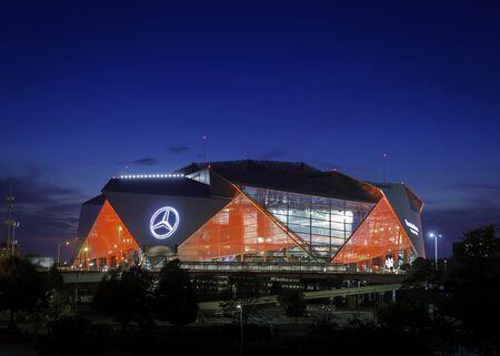 ATLANTA, GA - September 29, 2018: Mercedes-Benz Stadium on September 29, 2018 in Atlanta. Mercedes-Benz Stadium is the home of the Atlanta Falcons NFL team and has a unique eight-panel retractable roof