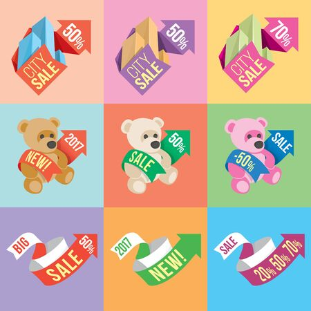 toyshop: Banners and stickers containing information about sales and discounts, with Some of the elements of 2D and 3D. The flat style.