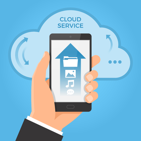uploading: Cloud computing concept. Hand holding smartphone with upwards arrow on the screen. Illustration
