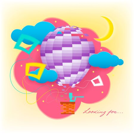 Looking for... Fairy flying in a balloon in the sky under the stars and the moon. Abstraction. Illustration