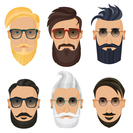 Hipster face of Bearded man.