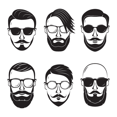 dapper: Hipster face on a white background. Bearded man.