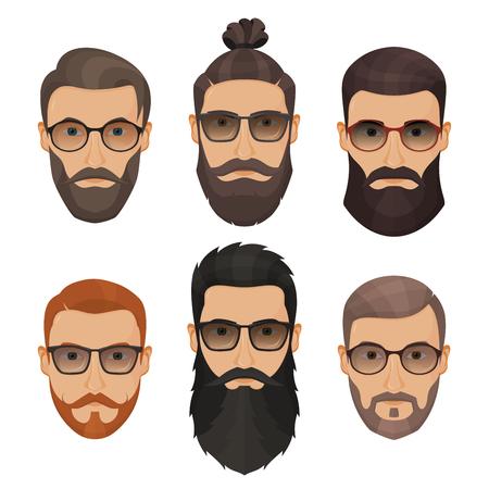 流行に敏感なひげを生やした男性別の髪型、髭、ひげは、白い背景で隔離。
