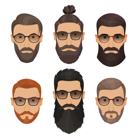 Hipsters bearded men with different hairstyles, mustaches, beards isolated on white background.