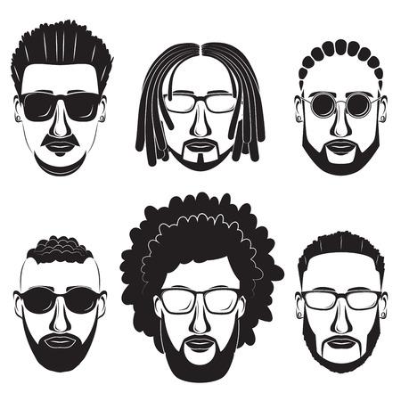 Hipsters Afrikaanse mannen met baard met verschillende kapsels, snorren en baarden. Stock Illustratie